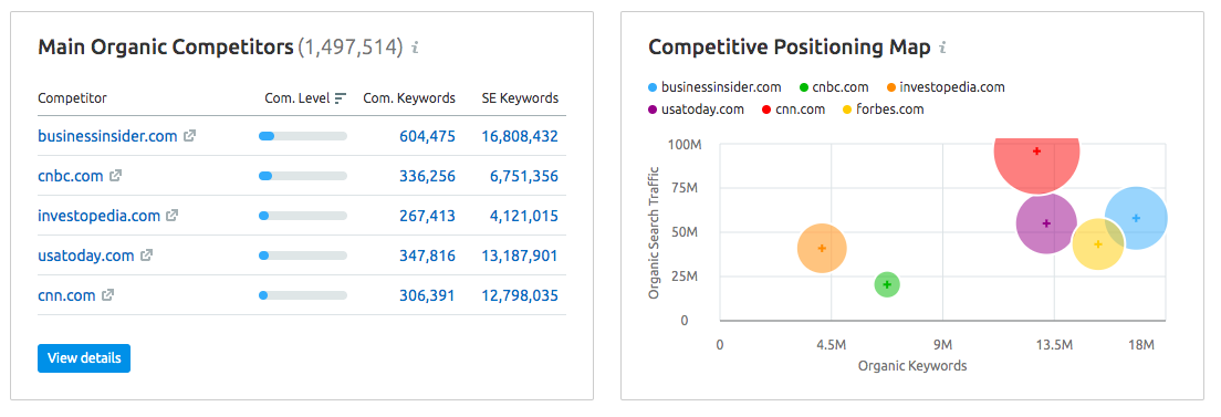 SEMRush Domain Overview Competitor Analysis Report Example