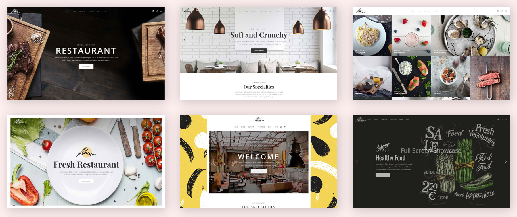 Savory restaurant WordPress theme demos