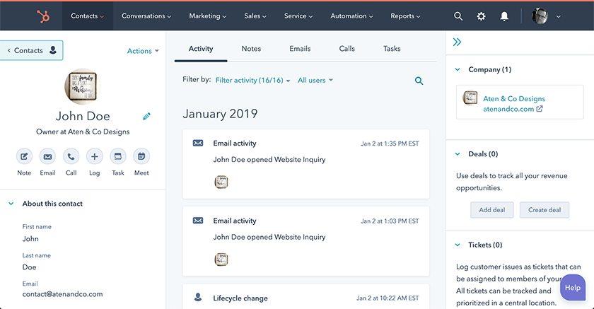 Screenshot of HubSpot contact management interface