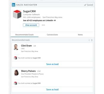 LinkedIn Sales Navigator integration in SugarCRM