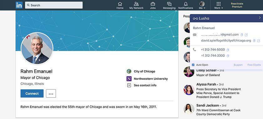 Rahm Emmanuel's LinkedIn account with Lusha browser widget