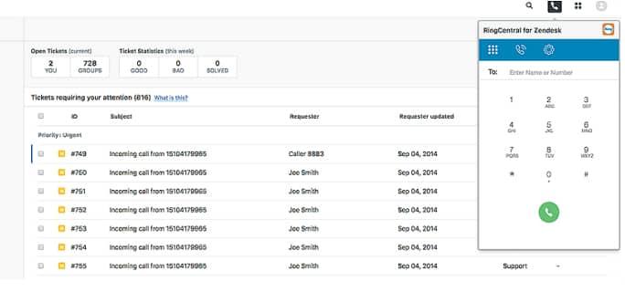 Screenshot of RingCentral for Zendesk app