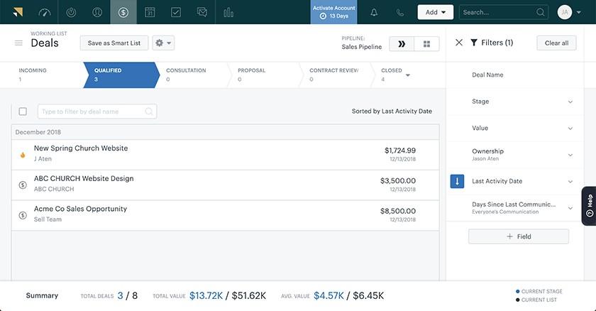 Screenshot of Zendesk Sell deals interface