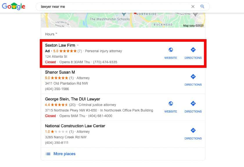 Screenshot of Lawyer Near Me Search