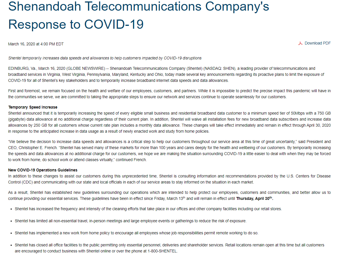 Shenandoah Telecommunications Company's Response to COVID-19 article