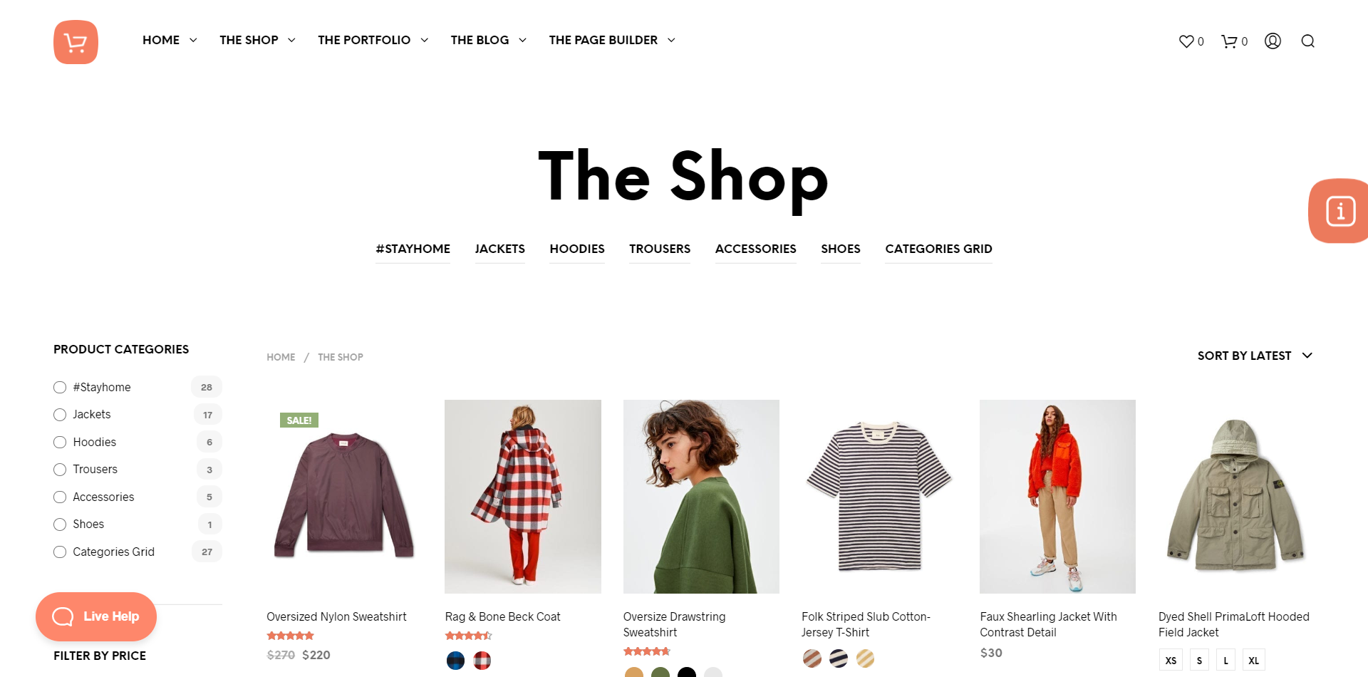 Shopkeeper WordPress theme homepage screenshot