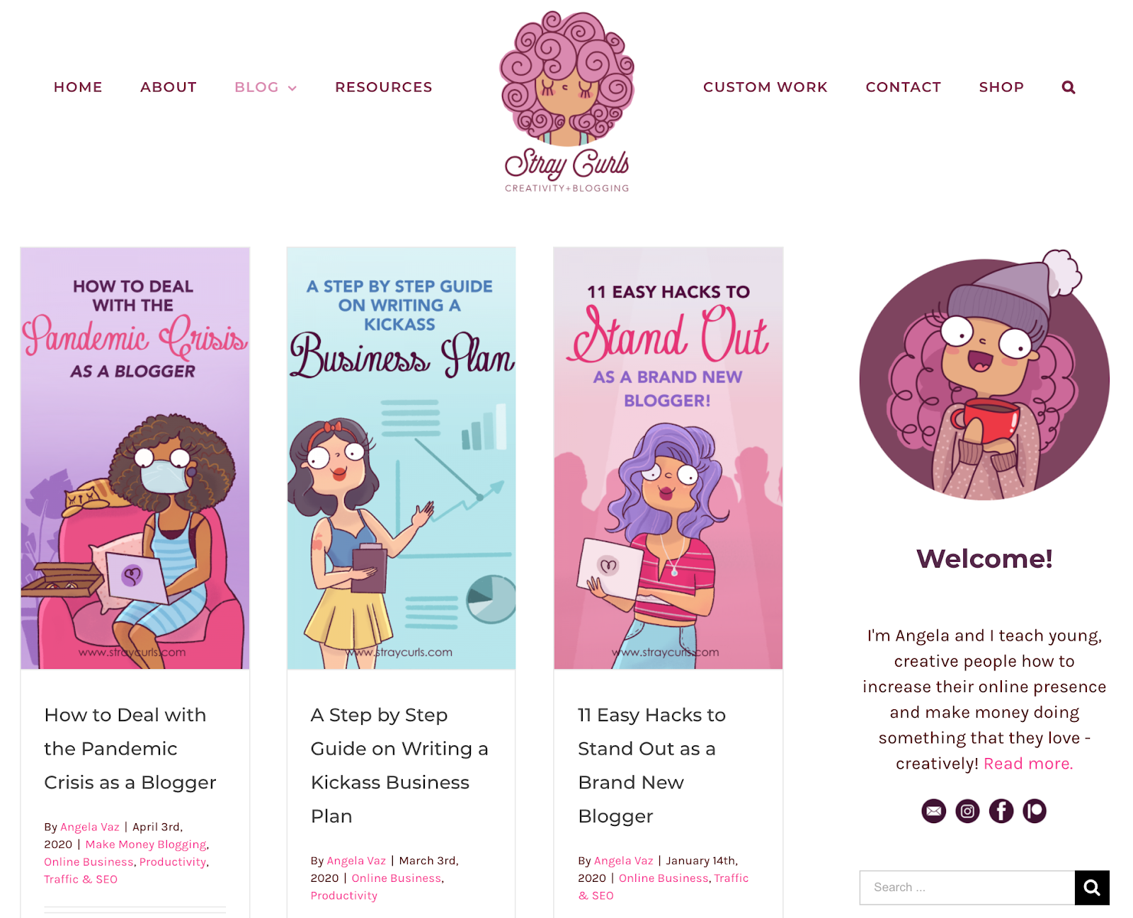 Stray Curls blog interface