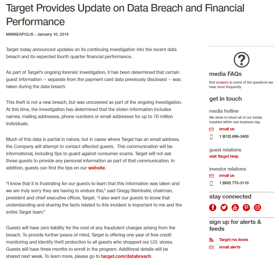 Target Crisis Press Release Example