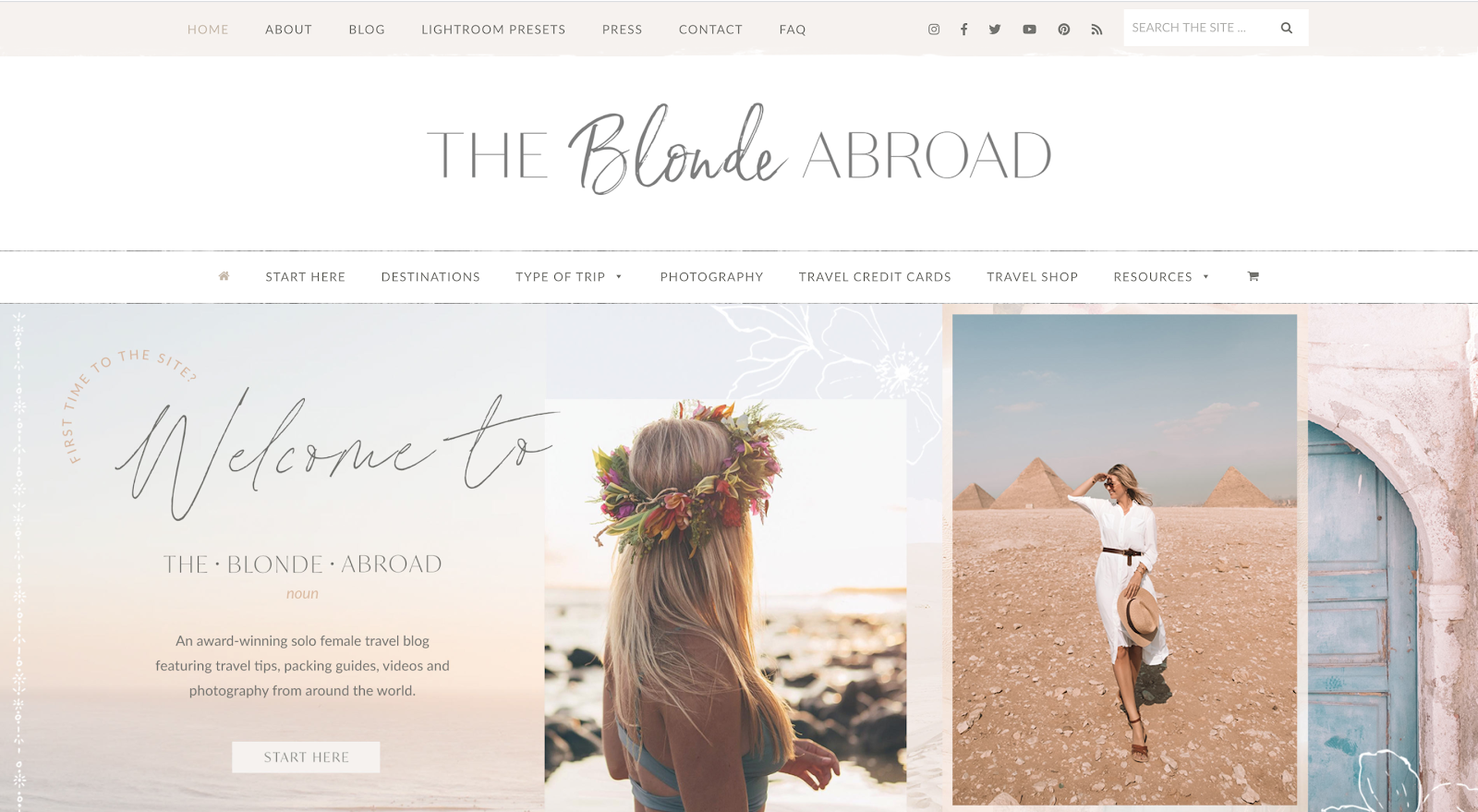 The Blonde Abroad blog interface