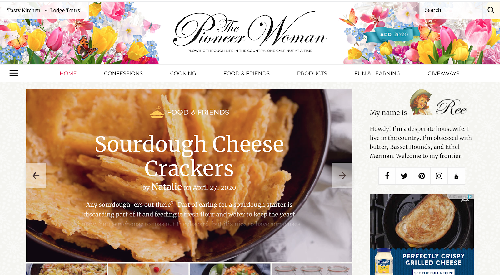 The Pioneer Woman blog interface