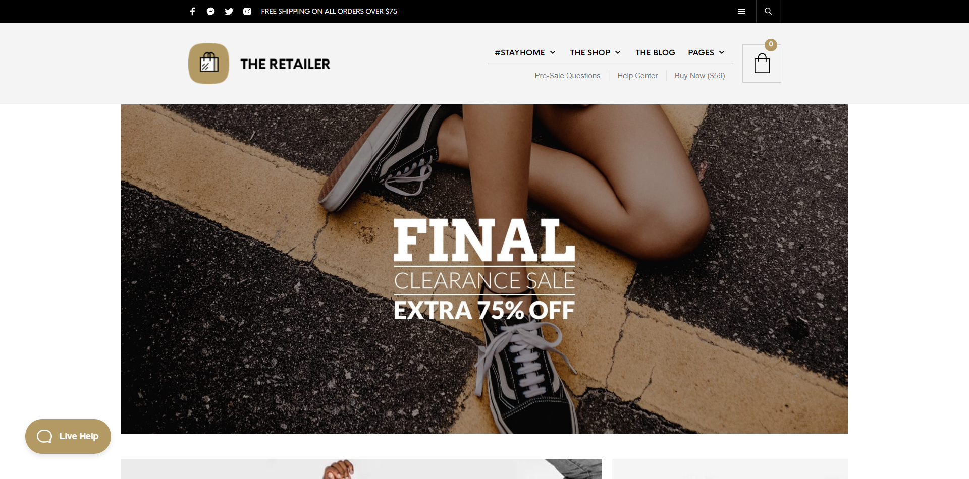 The Retailer WordPress theme Homepage Screenshot
