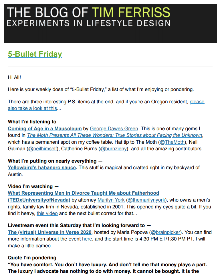 Tim Ferriss' 5-Bullet Friday email interface