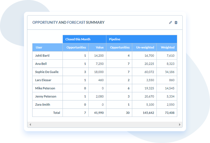 6 Best Salesforce Alternatives for Small Businesses 2020 - Opportunity and Forecast Summary chart