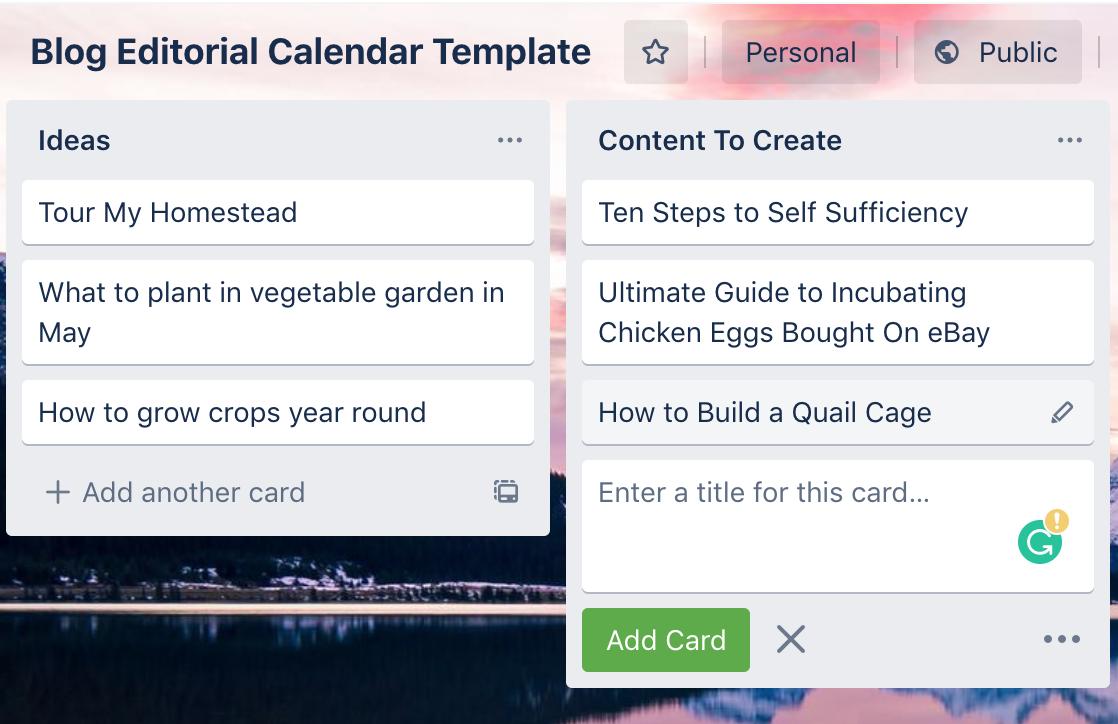 blog editorial calendar template in trello