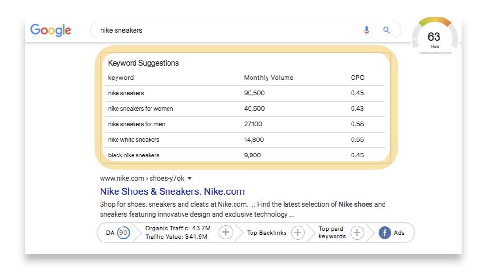 google nike sneakers keyword search interface