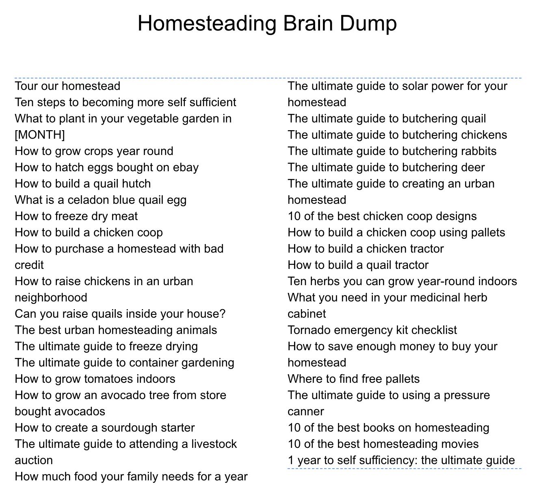 homesteading brain dump