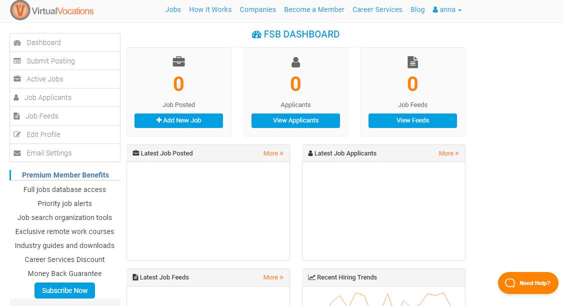 Virtual Vocations Employer Dashboard