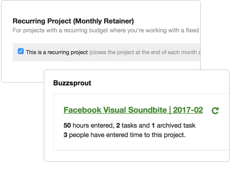 Tick Set Recurring Projects Feature