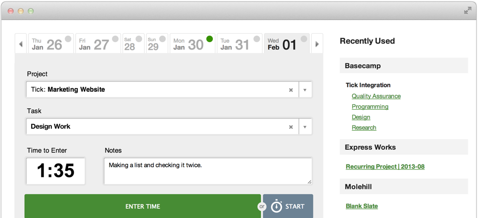 Tick Timecard Feature