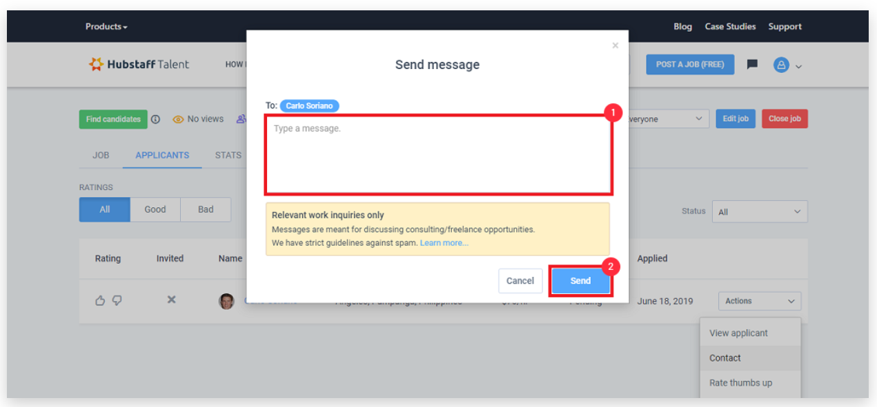 Hubstaff Talent create and send messages feature