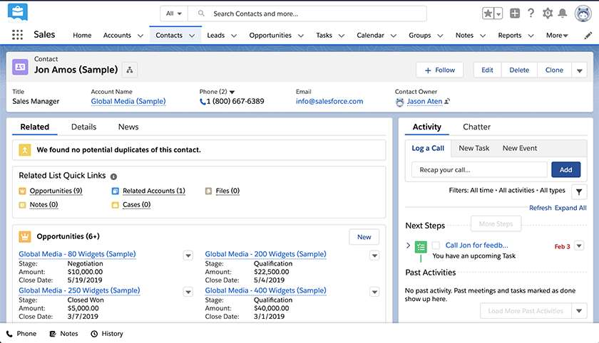Screenshot of Salesforce Essentials Deal Management