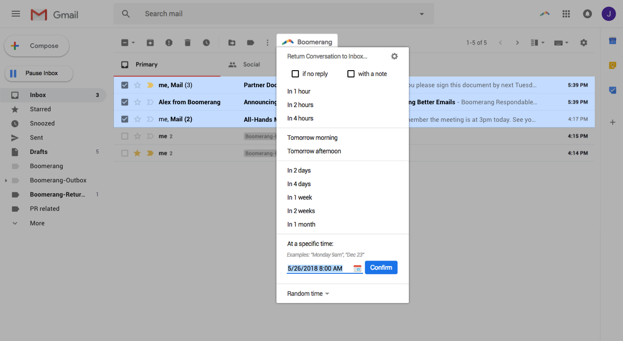 Schedule Emails to Send Later With Boomerang