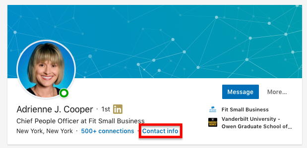 Finding Contact Information on LinkedIn