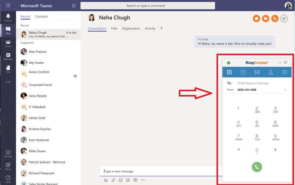 Office 365 with Integrated RingCentral Dialer