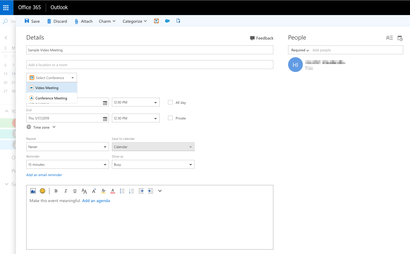 Meeting Scheduling via Office 365 with integrated RingCentral Meeting Room