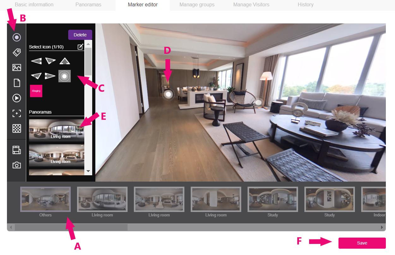 iStaging.com Virtual Tour Creator Interface