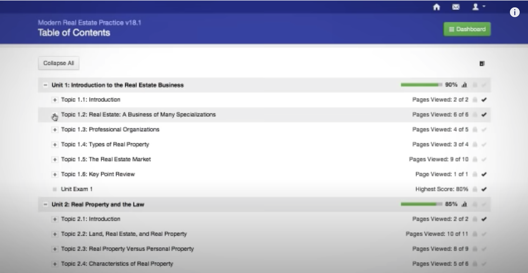 Rowlett Real Estate School example interface
