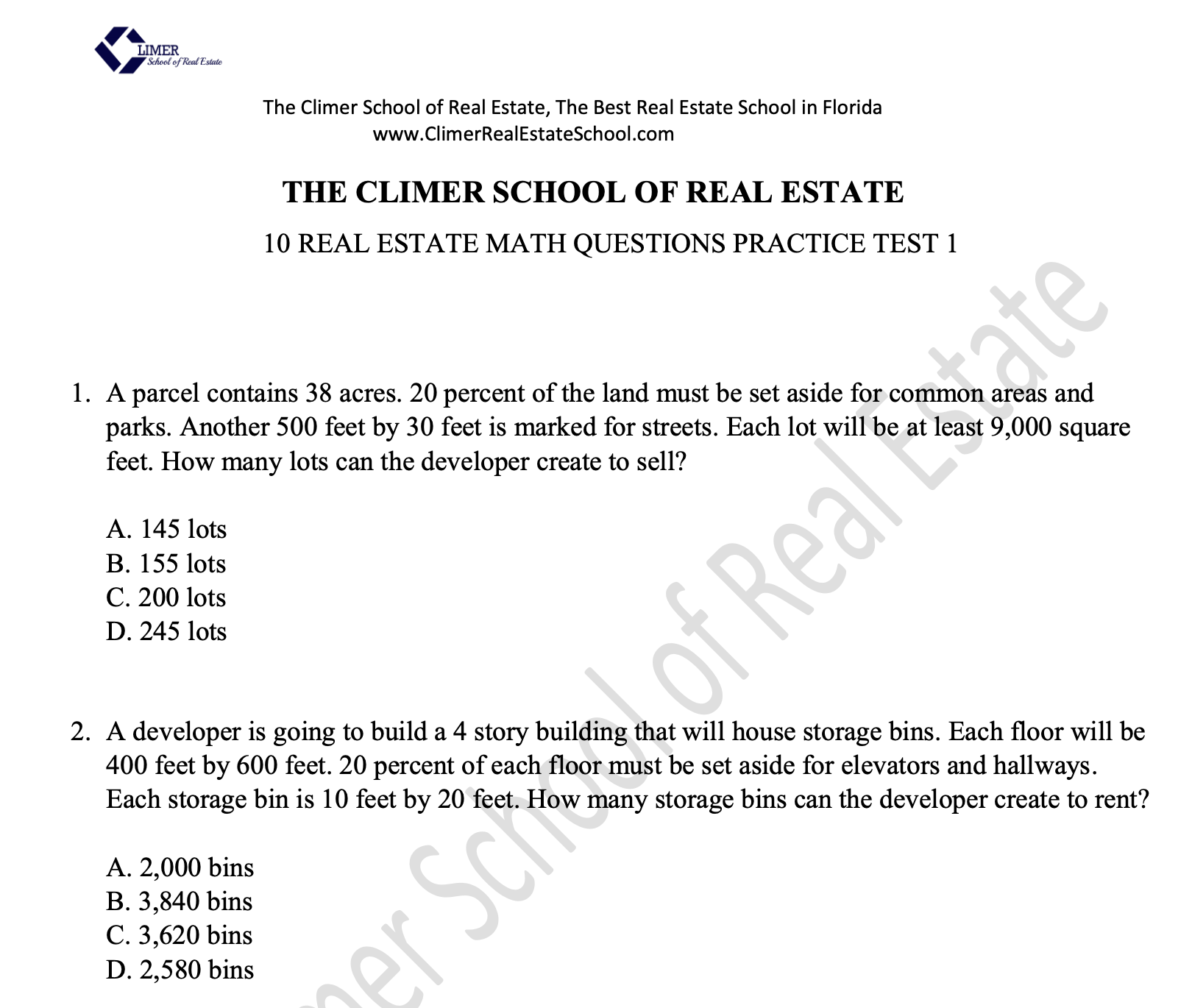 Real Estate Practice Exam courtesy of Climer School of Real Estate