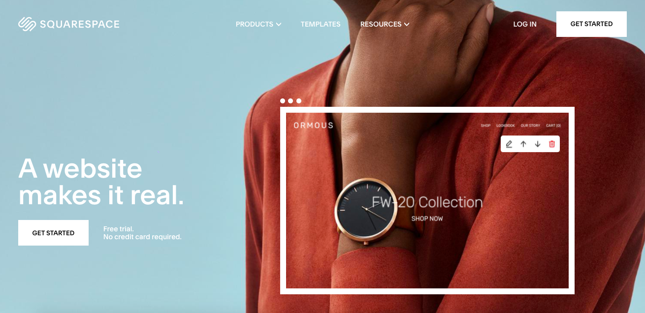 Sqaurespace website - a lady holding on her nape wearing a Black and gold watch