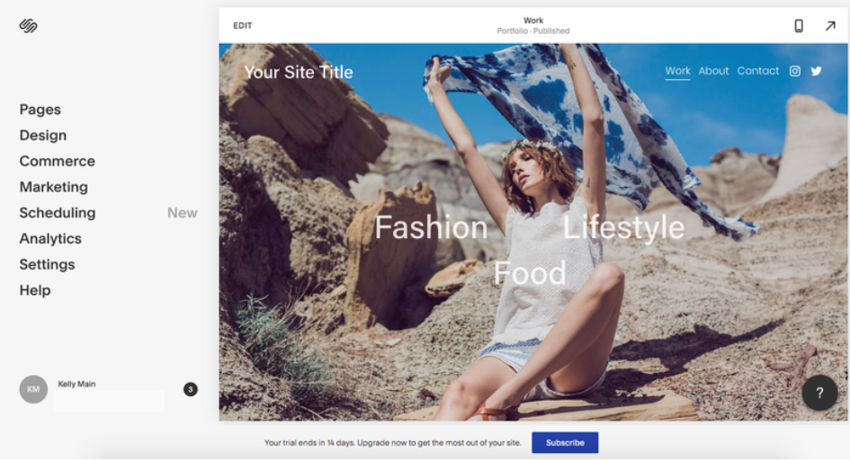 Squarespace Site Editing Interface