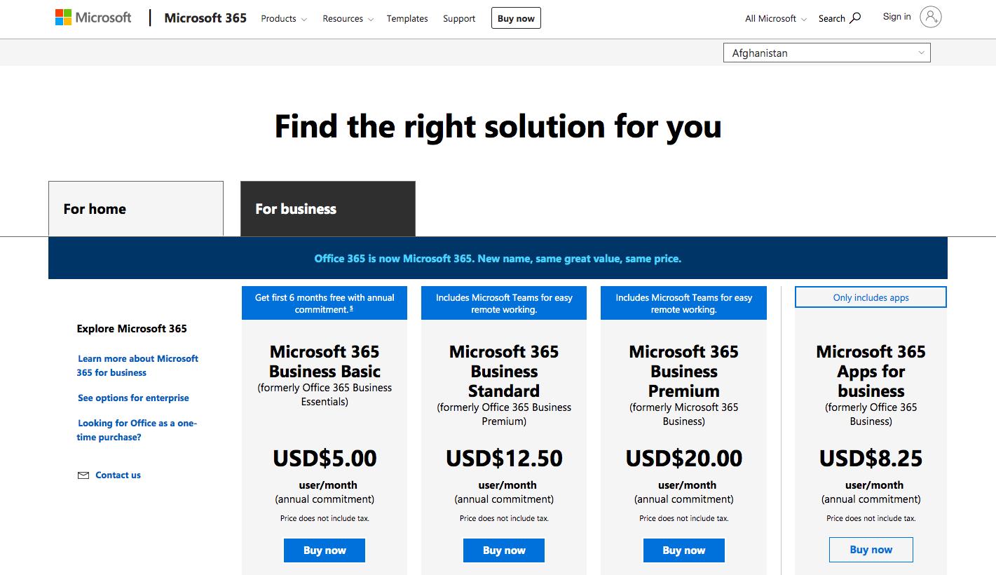 Choose a Microsoft 365 Plan