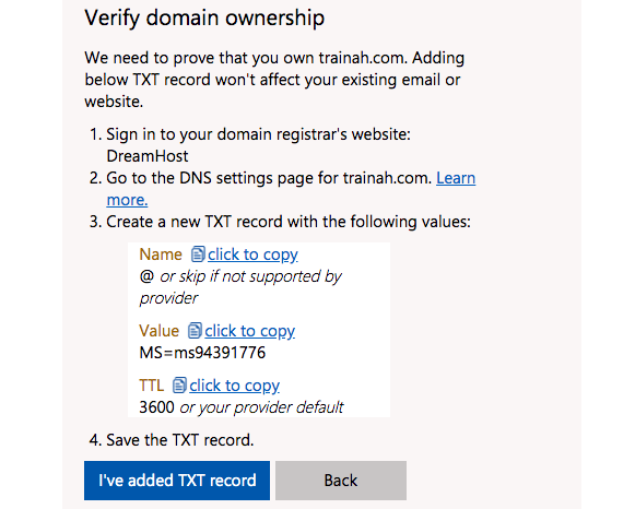 Update DNS Settings to Connect Your Domain to Outlook