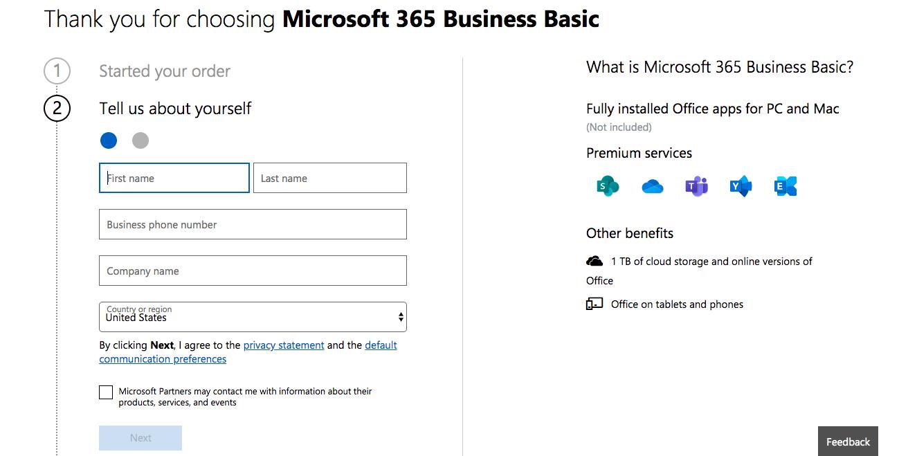 Microsoft 365 Create a New Account