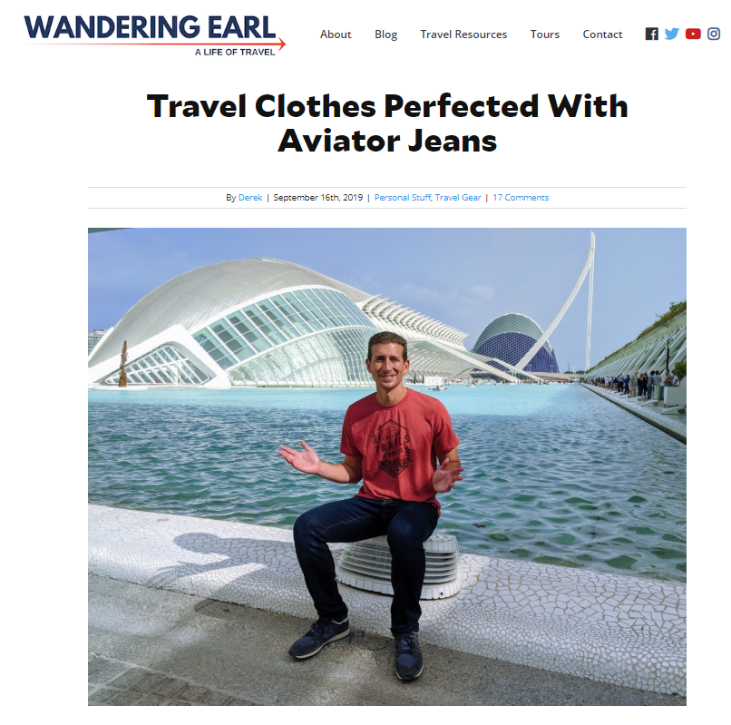 Blog promoting Aviator Jeans