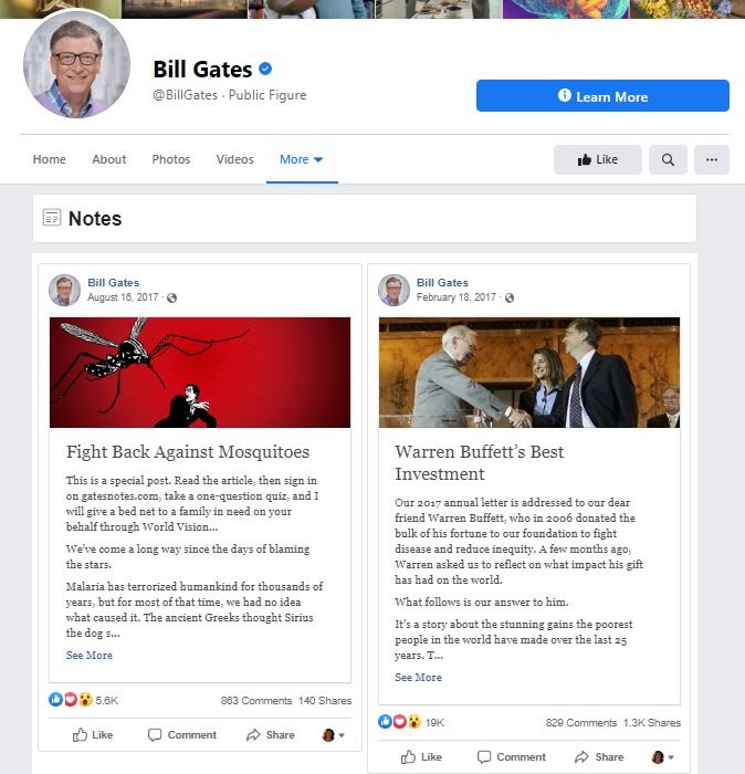 Example of two blog posts on Facebook from Bill Gates