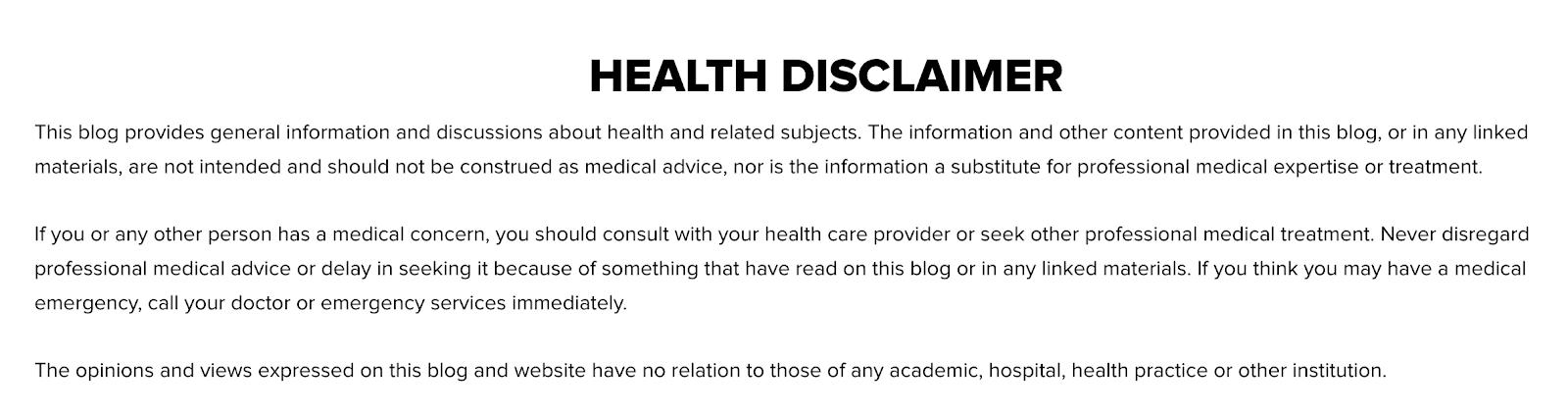 Health disclaimer on Tony Robbins' website