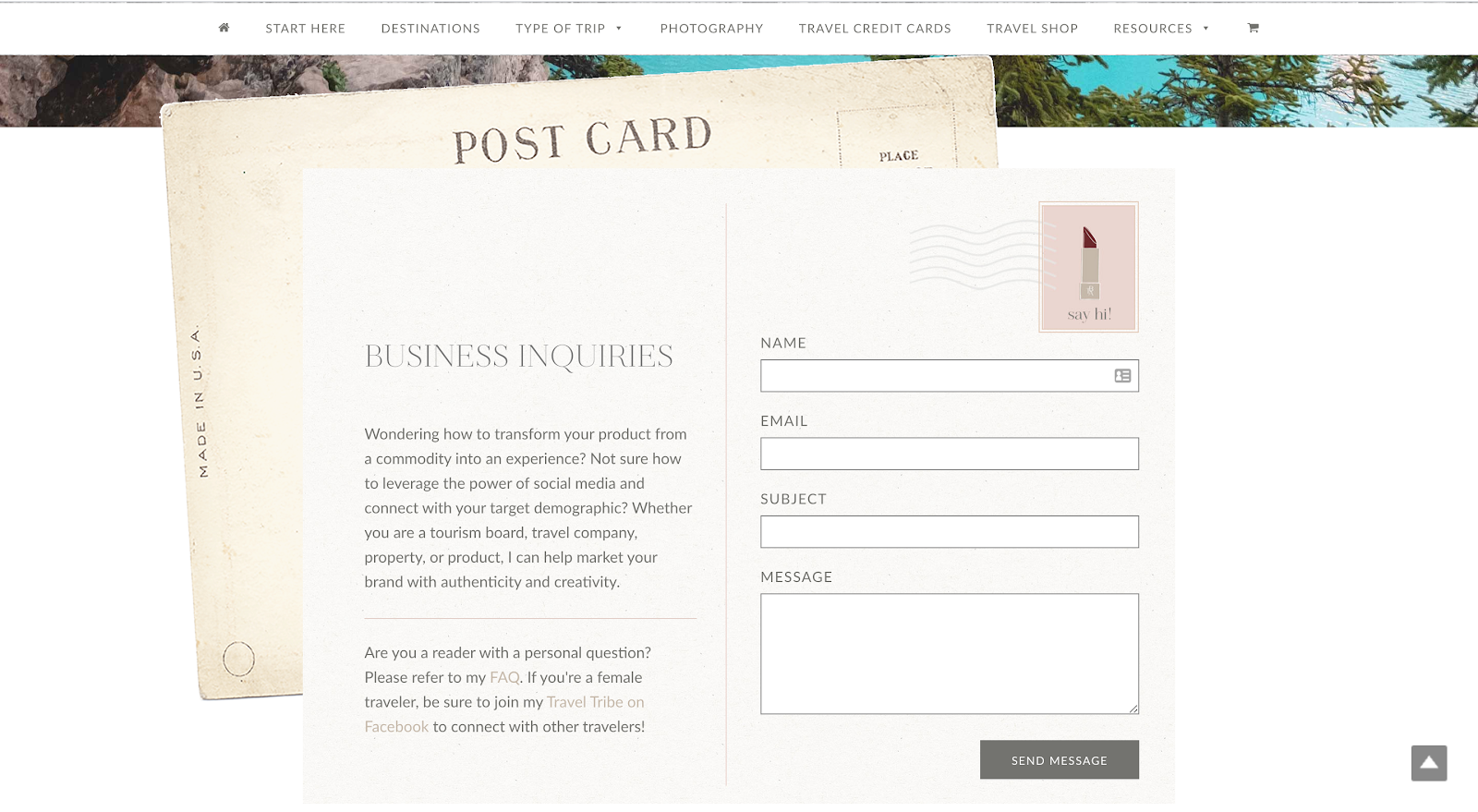 Business inquiry page on The Blonde Abroad