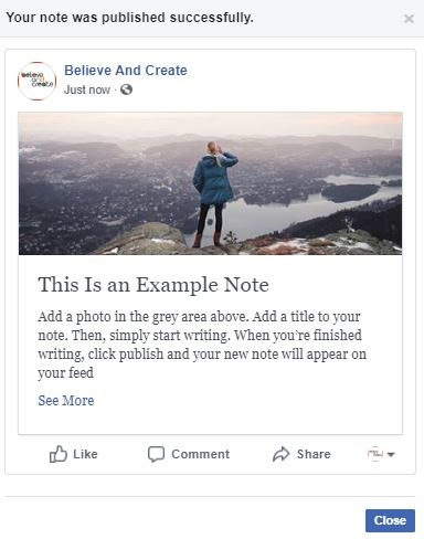 Published Facebook Note in your followers' Facebook feeds