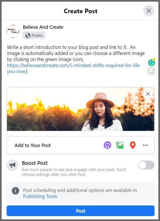 Sample Facebook post with blog content and link