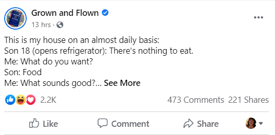 The Grown and Flown blog posts on Facebook