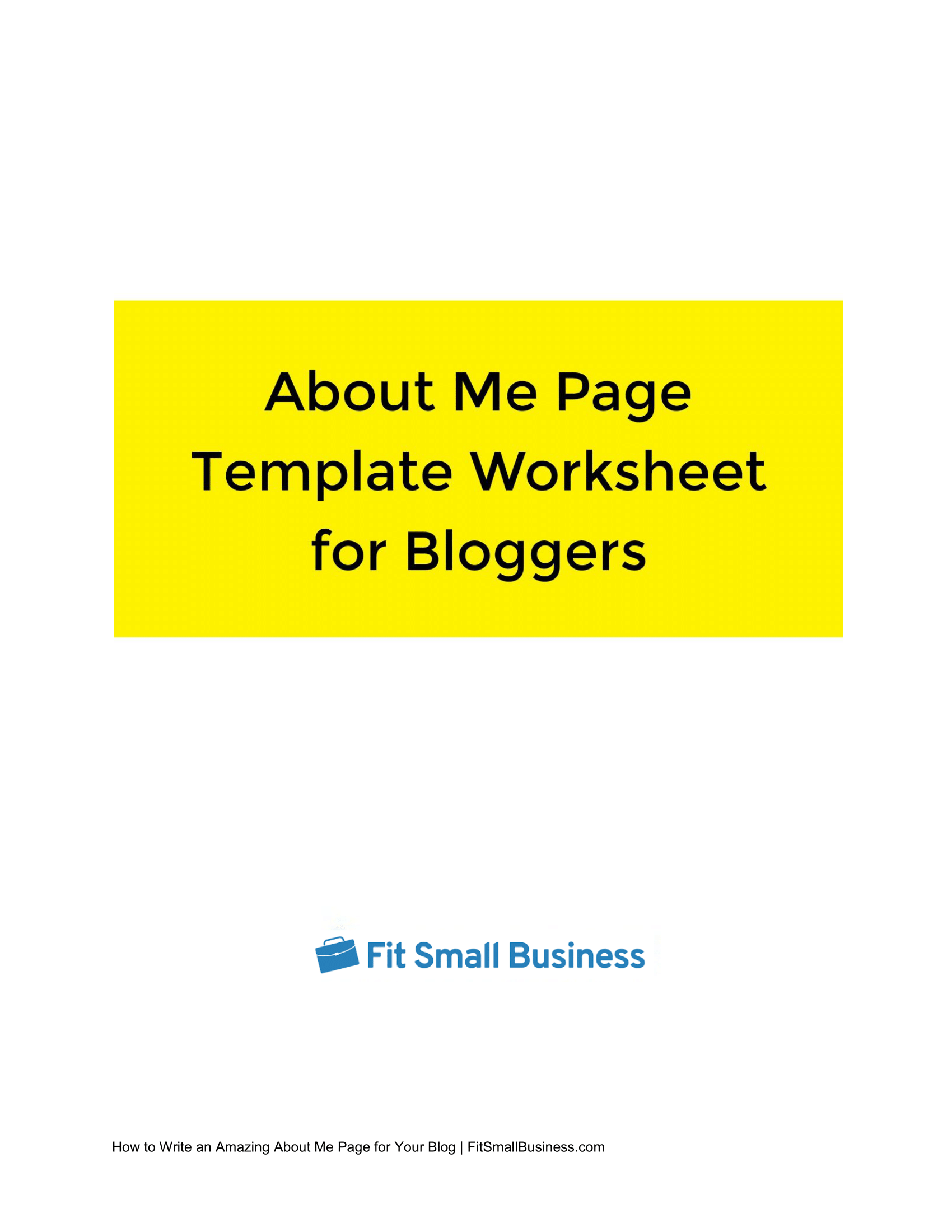 About Me Template Worksheet