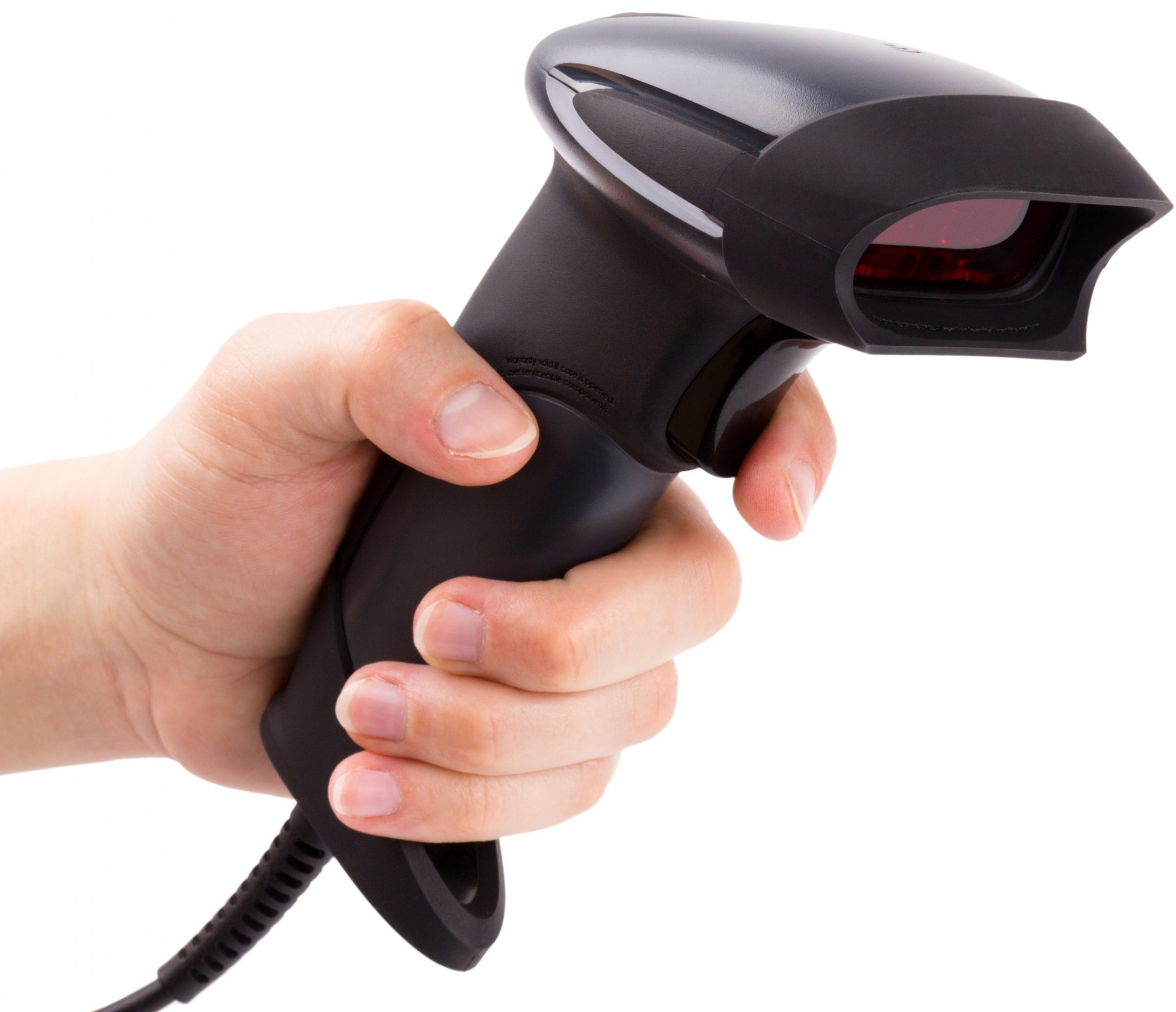 Hand holding a Barcode Scanner
