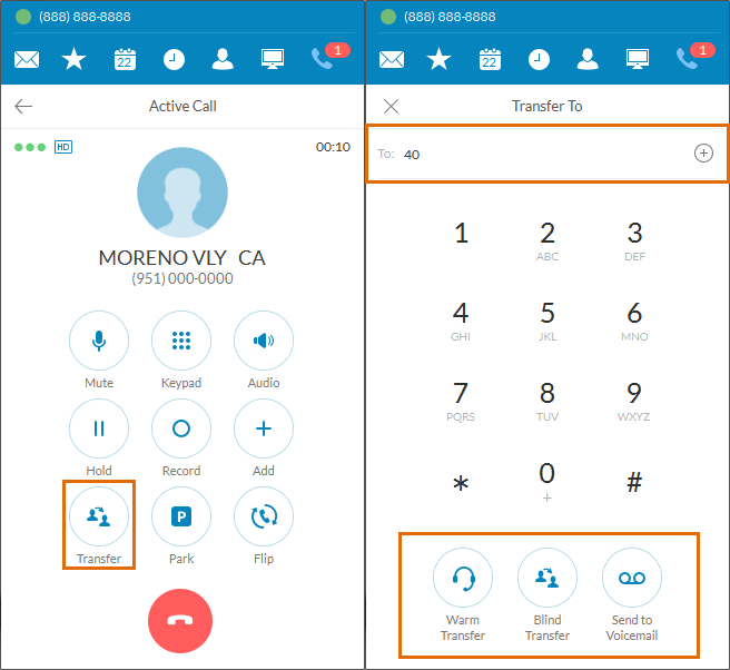 Call Transfer using the RingCentral Call Management App