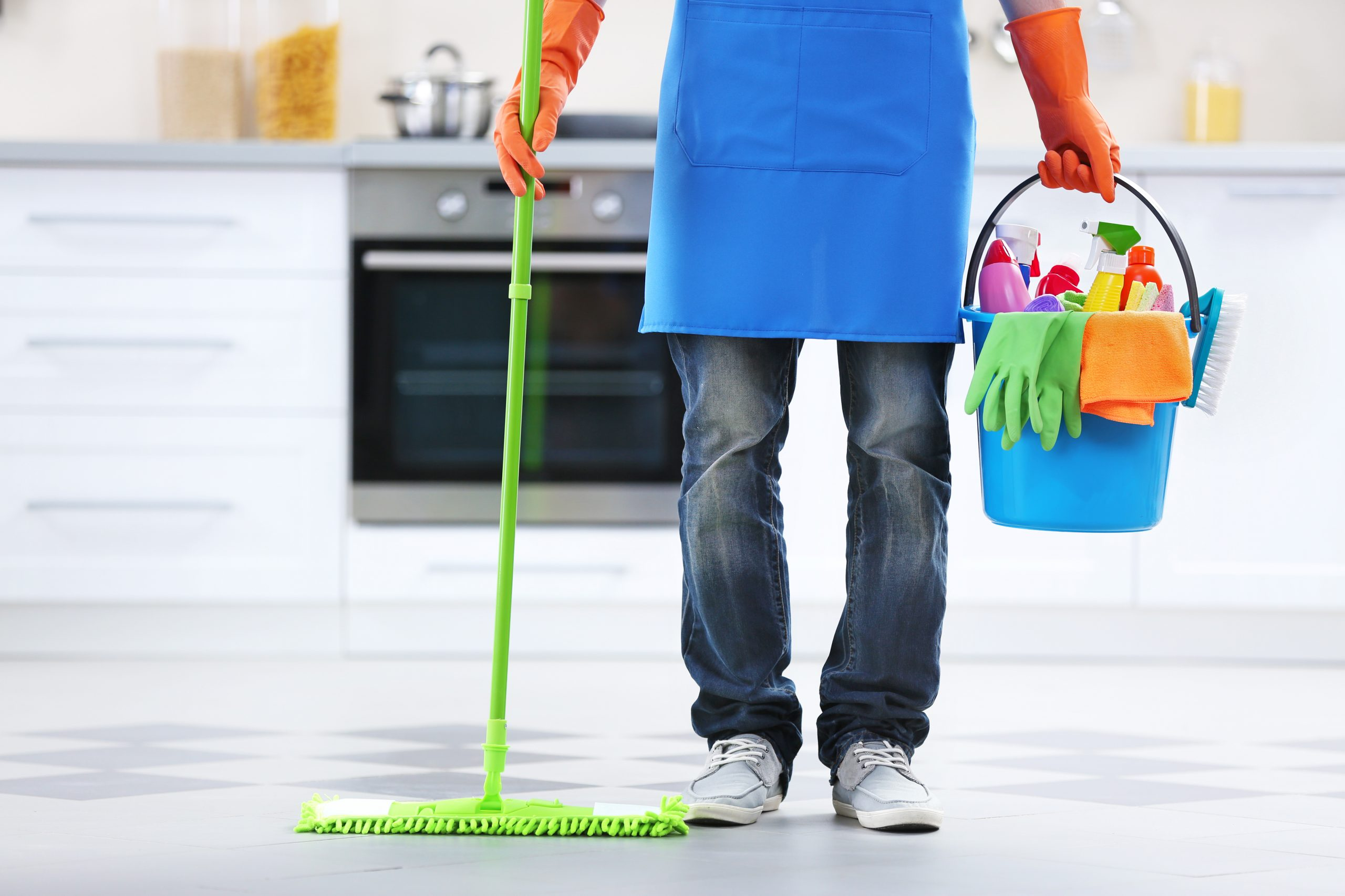 Man with a cleaning tools