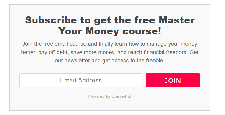 Email opt-in offer from the Making Sense of Cents blog