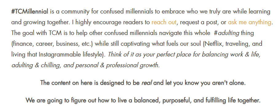 Excerpt from The Confused Millennial blog About Me page